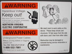 Proper planting instructions are located on the decal on the door of every NOVEC metal pad mounted unit